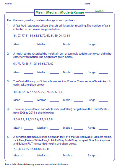 median mode and range Word problems Level 2