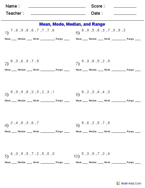 Mean Mode Median and Range Problems Worksheets