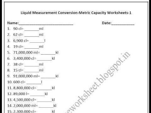Grade 4 Metric Capacity Worksheets Liquid measurement conversion
