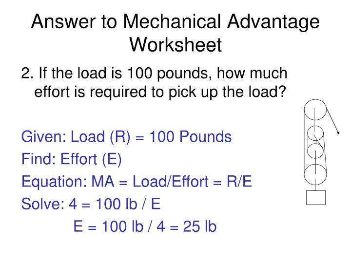 Answer to Mechanical Advantage Worksheet