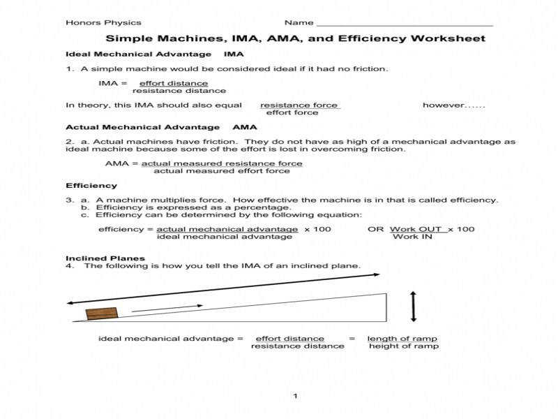 Simple Machines Ima Ama And Efficiency Worksheet