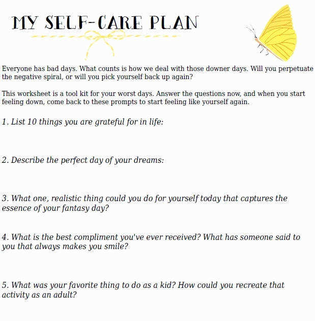 Self Care Worksheets Inspirational Your Self Care Action Plan Free Printable Worksheet