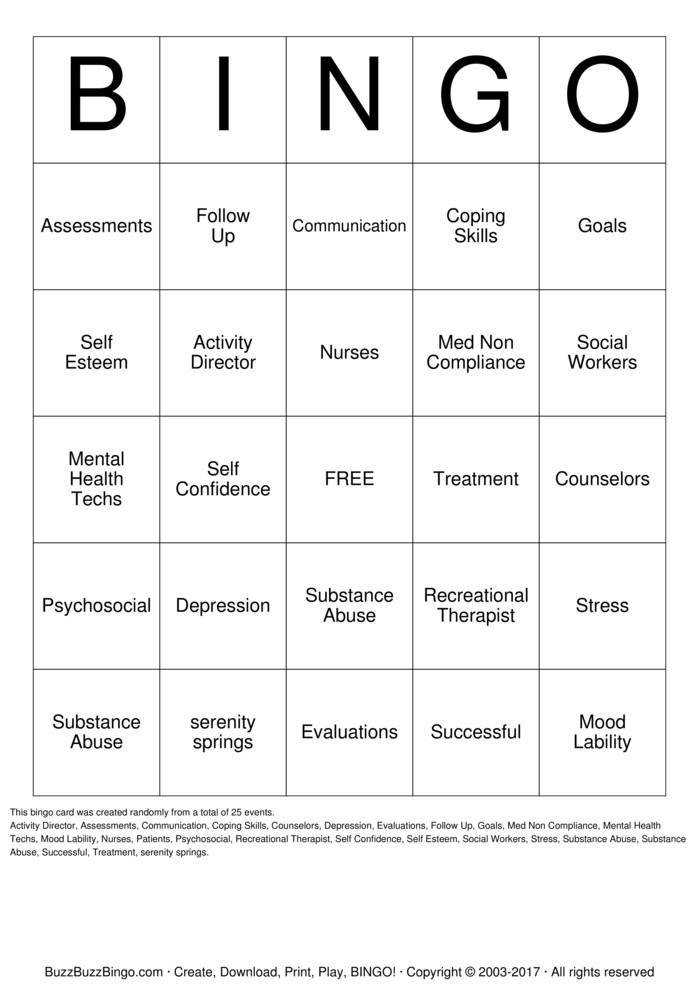 MENTAL HEALTH Bingo Card