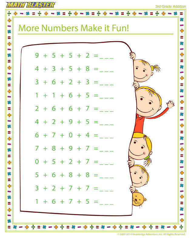 Free Printable Math Worksheet for 3rd Grade