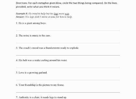 Simile Metaphor Worksheet Fresh Similes and Metaphors Worksheets Simile Worksheet and Simile