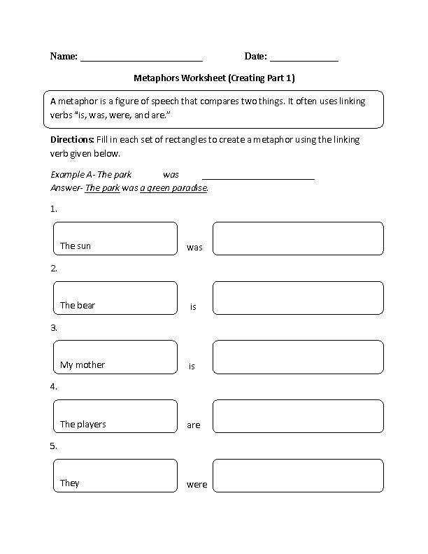 Metaphor Worksheets – Metaphors Worksheet