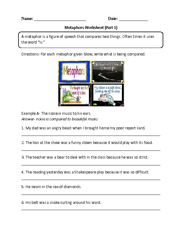 Writing with Metaphors Worksheet