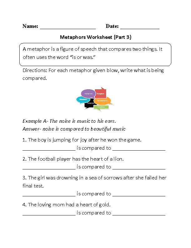 Metaphors Meanings Worksheet