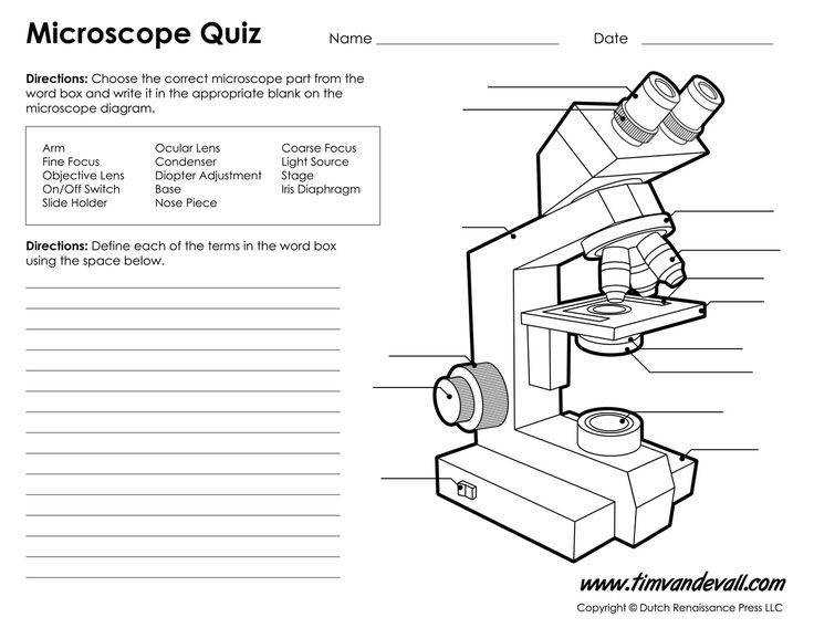 Print a microscope diagram microscope worksheet or practice microscope quiz in order to learn all the parts of a microscope