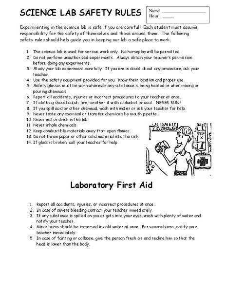 Lab Safety Worksheets For Middle School