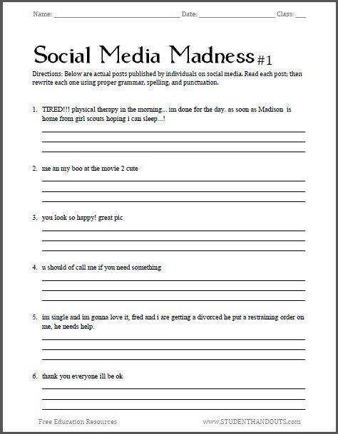 Social Media Madness Grammar Worksheet 1