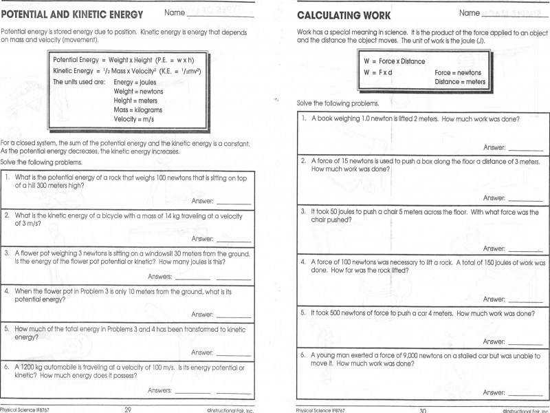 Potential And Kinetic Energy Worksheets Middle School Worksheets
