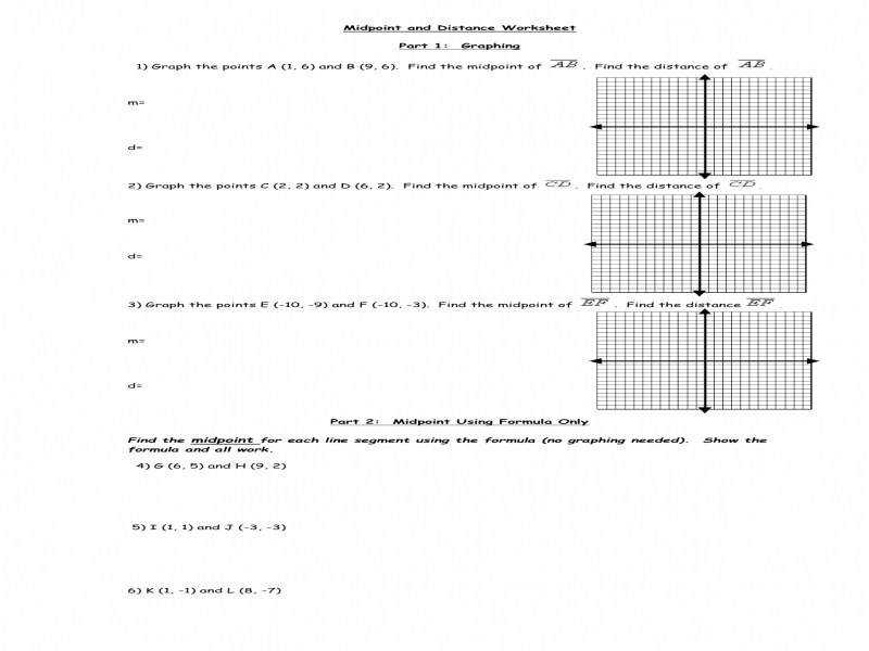 Midpoint And Distance Formula Worksheet Worksheets
