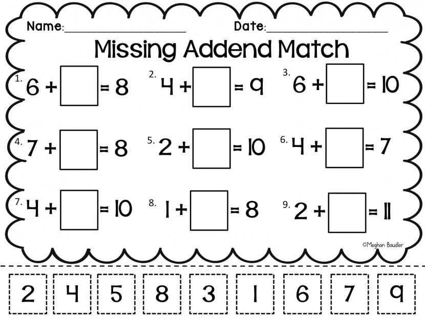 Worksheet Missing Addend Wosenly Free Cut And Paste Addition Subtraction Worksheets Sl