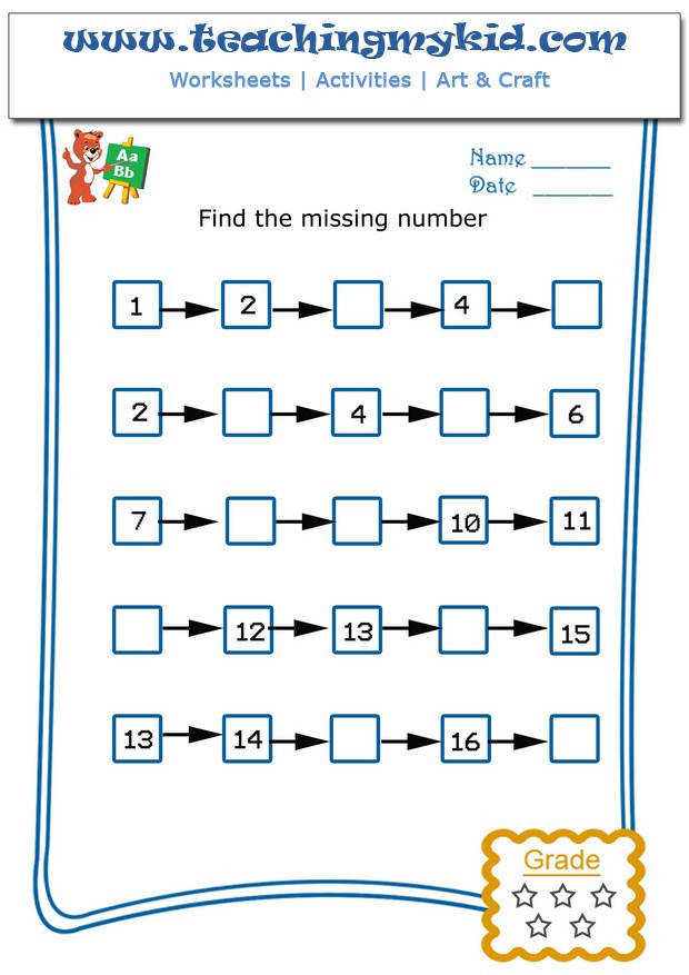 Kids math worksheets – Write the missing number – 4 – 10