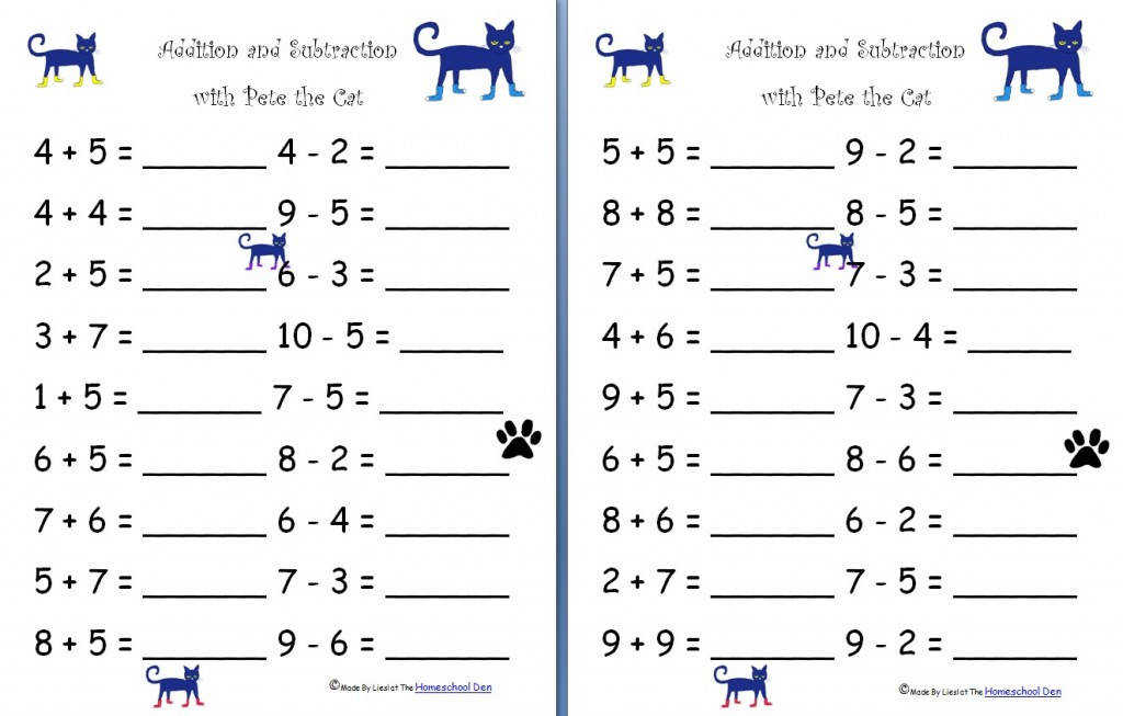Addition Subtraction Pete the Cat