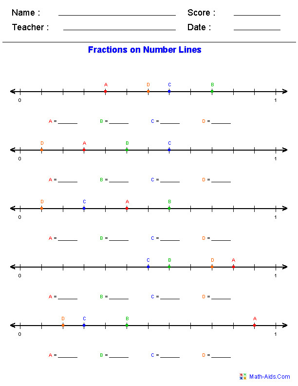 Number line worksheets for addition subtraction fractions decimals and mixed numbers