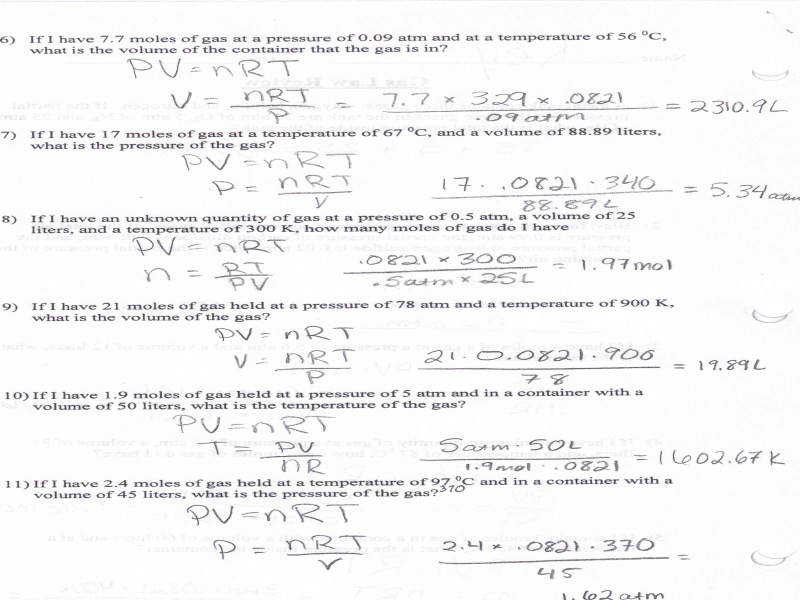 27 Chemistry The Ideal Gas Law Worksheet - Free Worksheet ...
