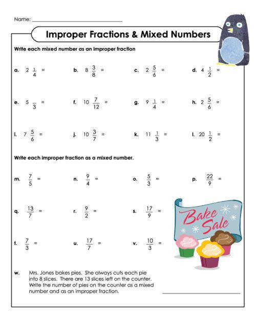 This free printable worksheet s students thinking about improper fractions and mixed numbers The