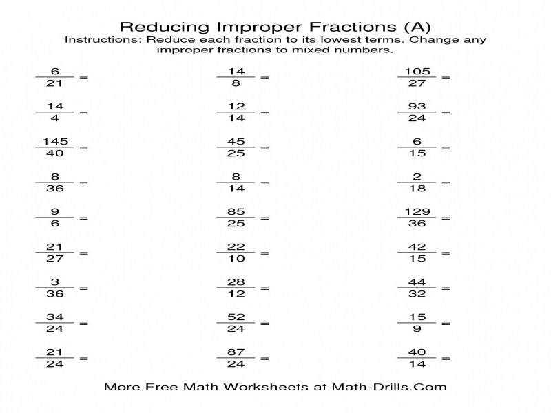 Mixed Number To Improper Fraction Worksheet Reducing Improper Fractions To Lowest Terms A