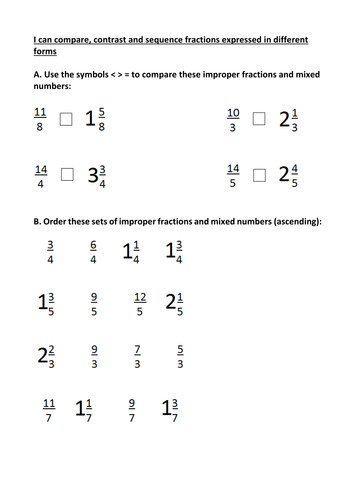 pare contrast and sequence mixed numbers and improper fractions worksheet by FB2015 Teaching Resources Tes