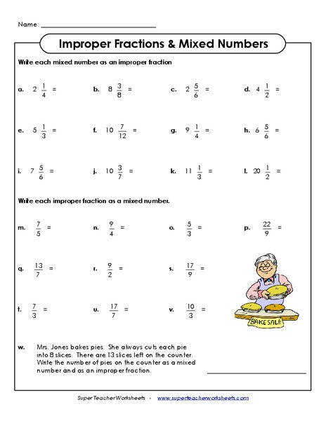 Subtraction or mixed numbers worksheet for grade 6 math students Changing Improper Fractions to