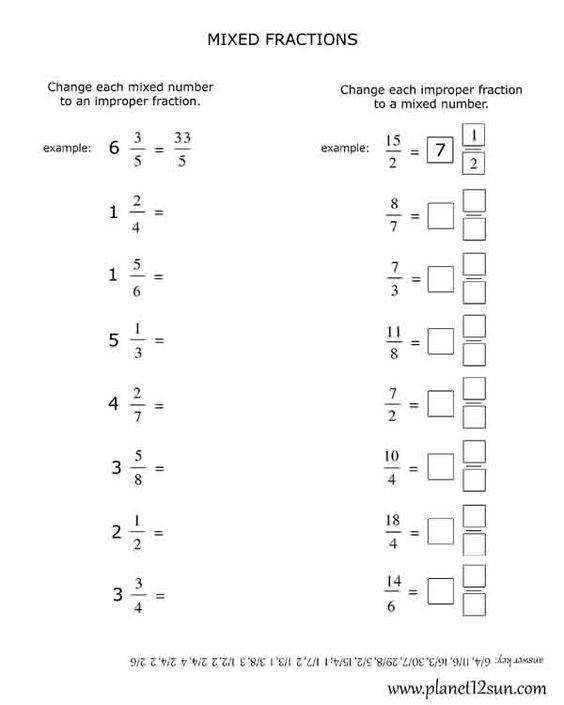 Improper Fractions & Mixed Numbers Color by Number Fall Colors