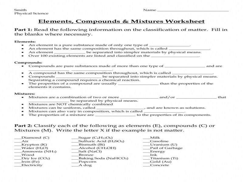 Elements pounds & Mixtures Worksheet