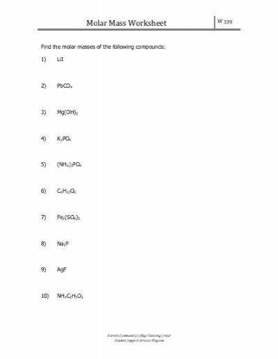 Handwriting Molar Mass Practice Worksheet