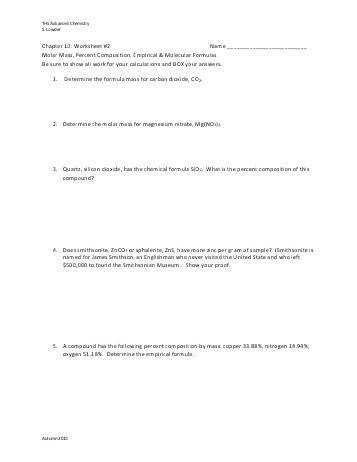 Basic Skills Shape Molar Mass Practice Worksheet Format Molar Mass