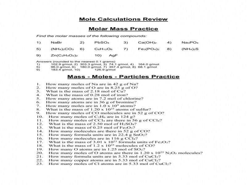 Molar Mass Practice Worksheet