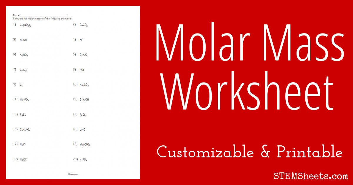 molar mass worksheet