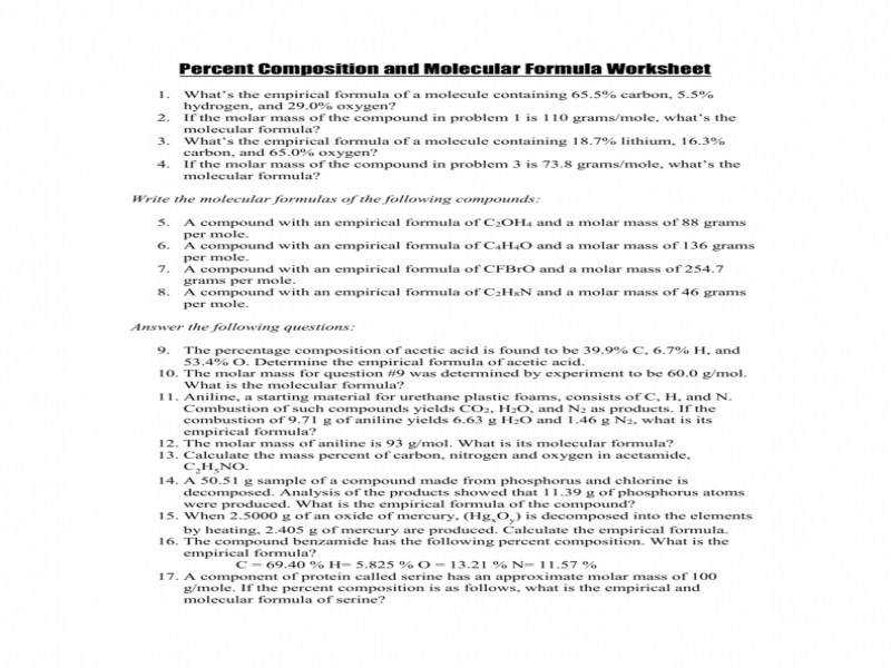 Percent position And Molecular Formula Worksheet Key