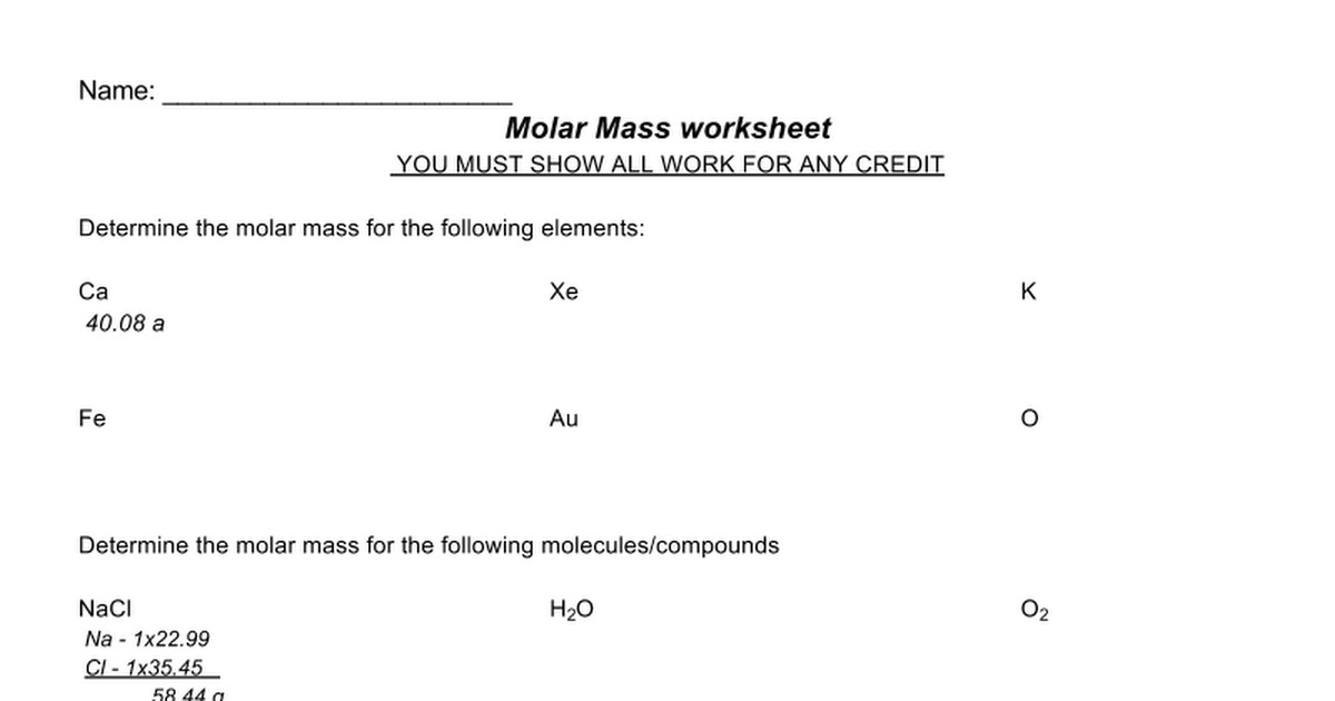 Molar Mass Lesson Plans & Worksheets Reviewed by Teachers