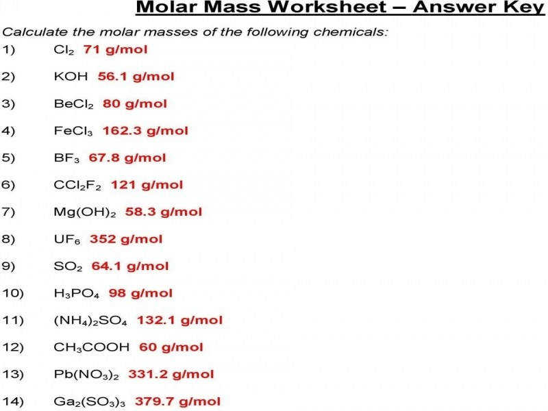 Astonishing Molar Mass Practice Worksheet 1 To 5 Youtube