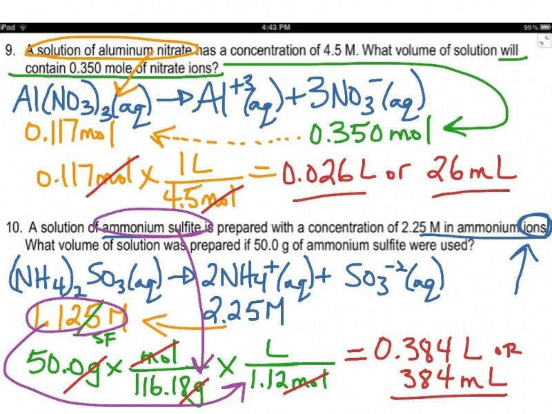 Answer Key Video For Worksheet 5 1 Molarity