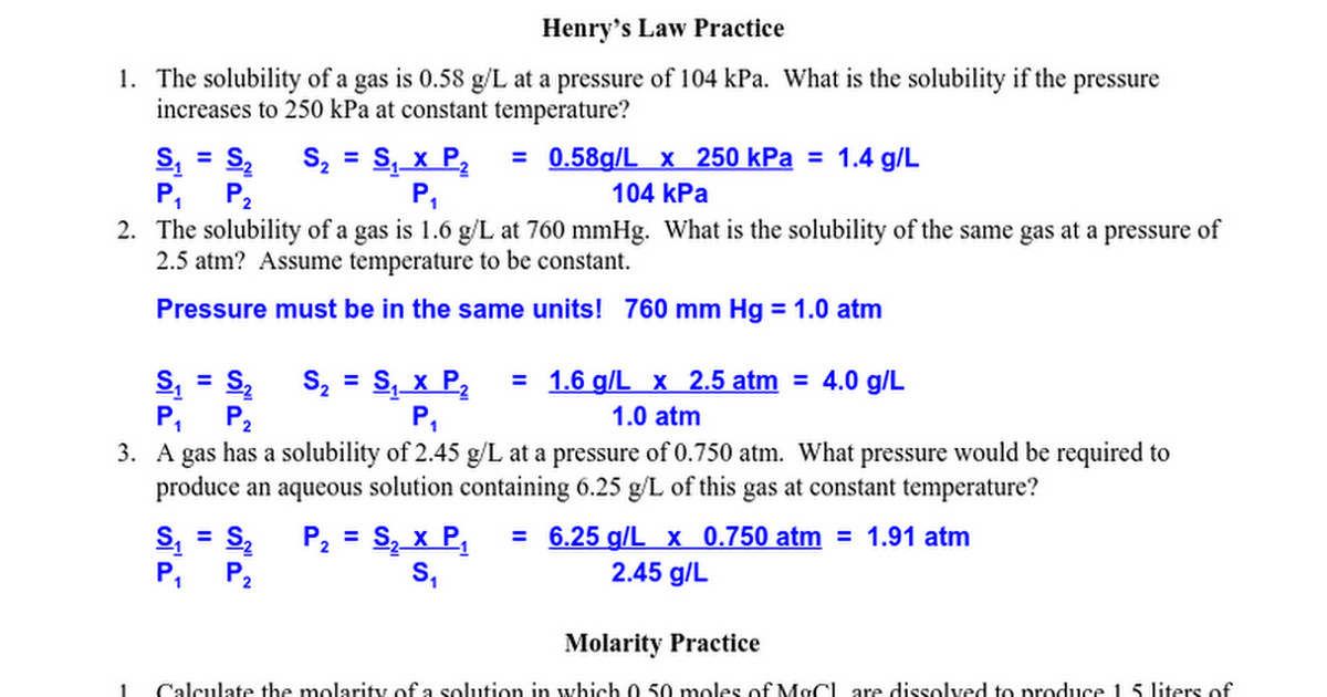 Molarity Practice Worksheet Answers Homeschooldressage Com