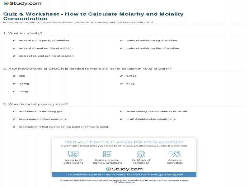Quiz & Worksheet – How To Calculate Molarity And Molality