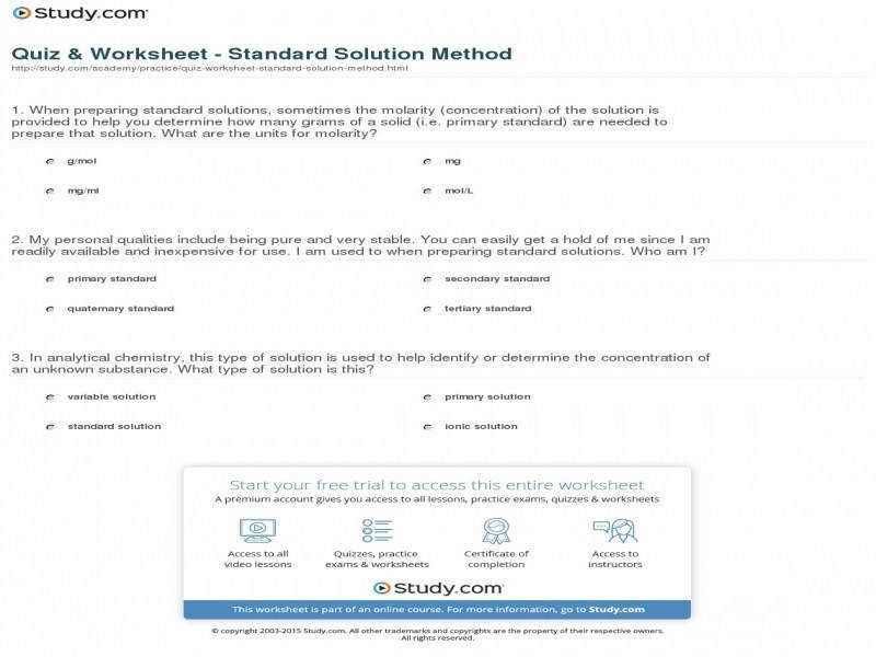 Quiz & Worksheet Standard Solution Method
