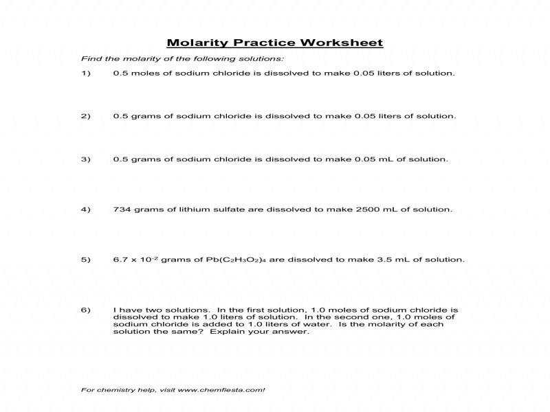 Molarity Calculation Worksheet Worksheets