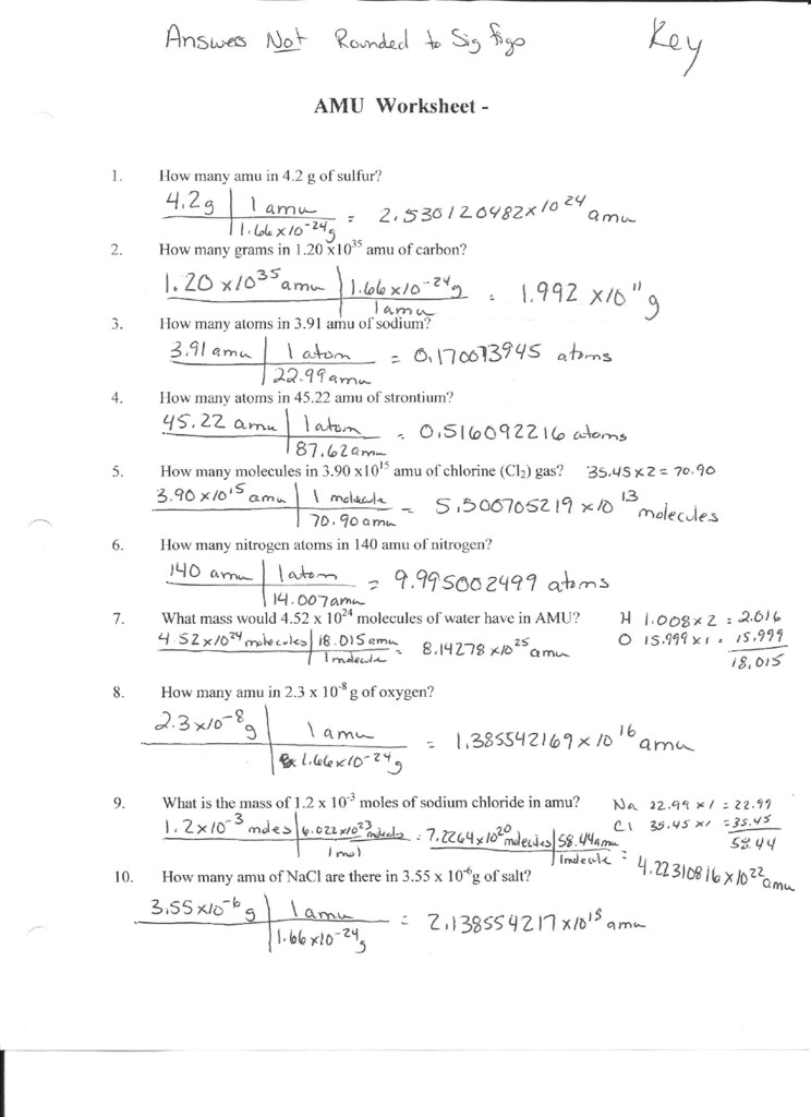 mole calculation practice worksheet