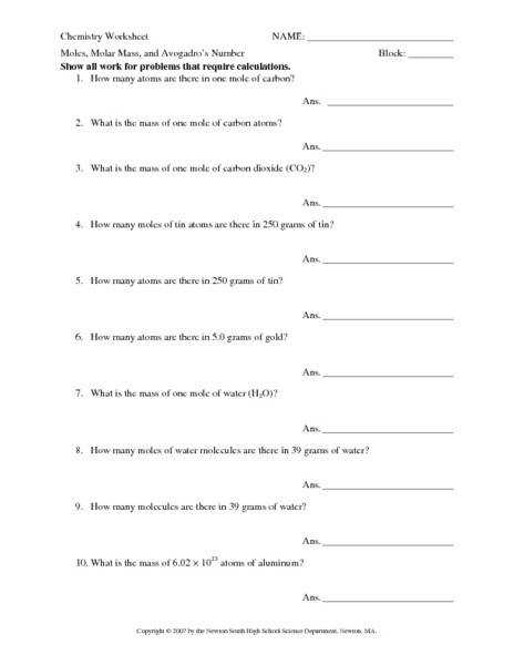 Mole Conversions Worksheet Homeschooldressage Com