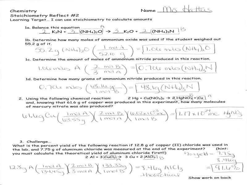 Announcements – Stoichiometry Test Review Answer Keys