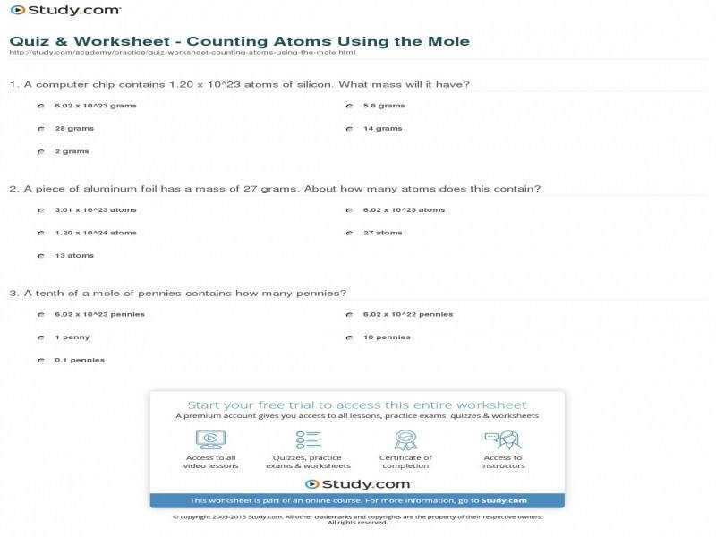 Quiz & Worksheet – Counting Atoms Using The Mole