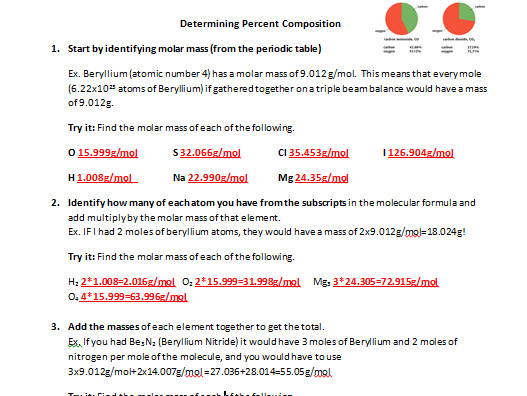 Determining Percent position from Molecular Formula Worksheet by mmingels Teaching Resources Tes