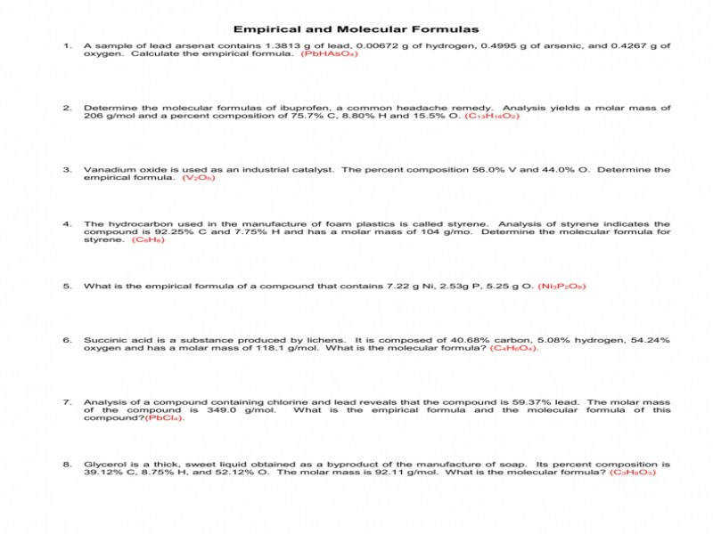 Determining Empirical Formulas Worksheet Pdf Proga Info