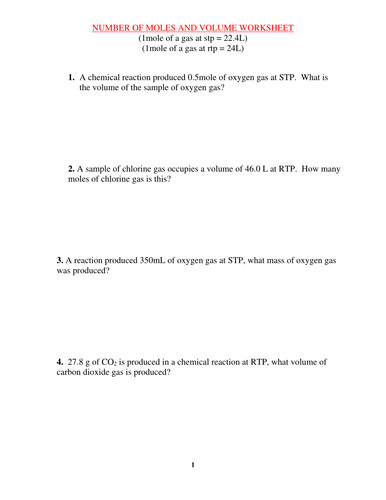 MOLES AND VOLUME WORKSHEET WITH ANSWERS by kunletosin246 Teaching Resources Tes