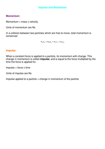 A level Maths Mechanics Collisions Worksheets by SRWhitehouse Teaching Resources Tes