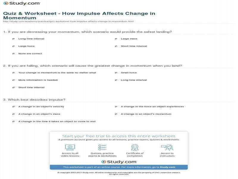 Quiz & Worksheet – How Impulse Affects Change In Momentum