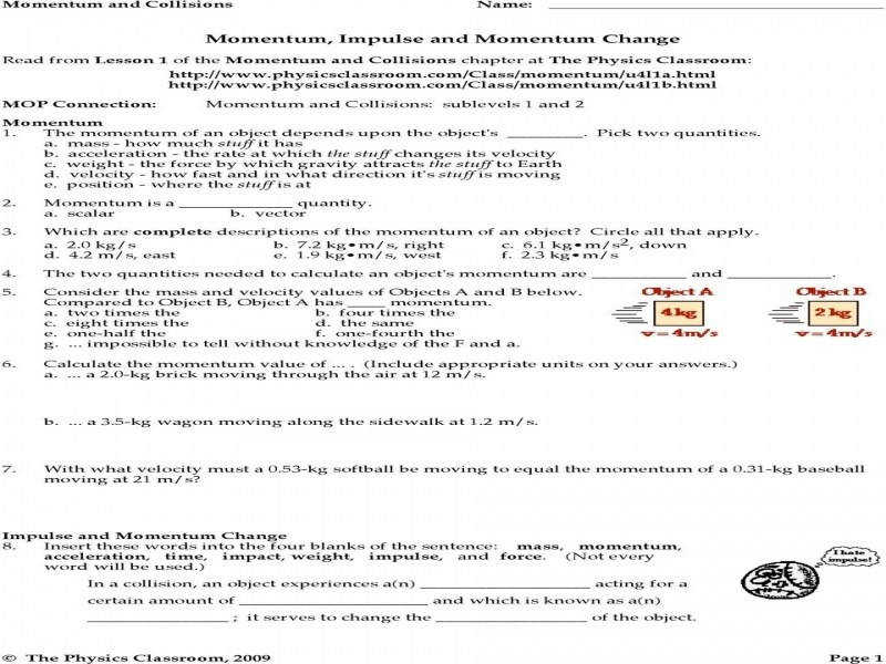 Transparency 9 2 Worksheet Conservation Momentum Answers